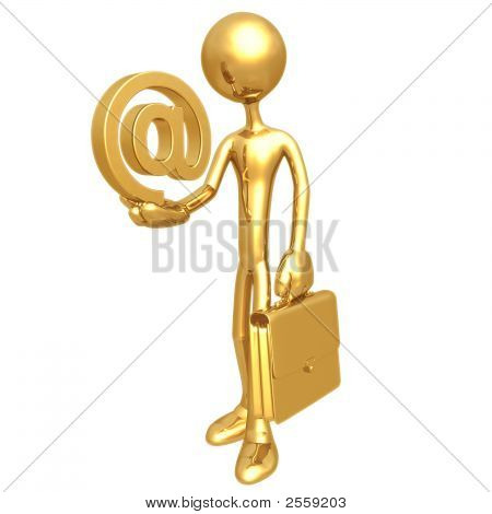 Businessman Holding Email Symbol