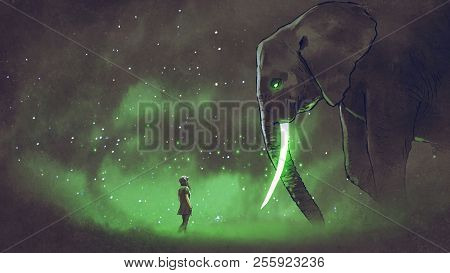 young woman facing the giant elephant with glowing green tusks, digital art style, illustration painting poster