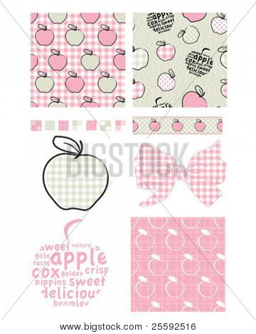Pretty apple patterns. Use to print onto fabric for jam lids or as backgrounds or other decor projects.