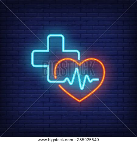 Heart, Cross And Cardiogram Neon Sign. Medicine, Cardiology And Healthcare Concept. Advertisement De