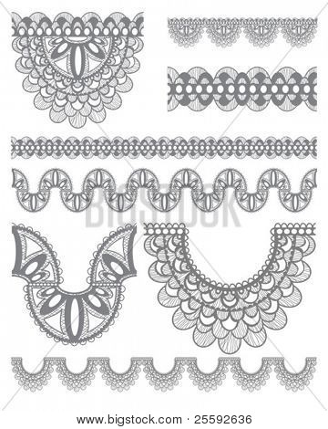 Seamless trims for use with fabric projects, backgrounds or scrap-booking.  Elements can also be used as Illustrator brushes