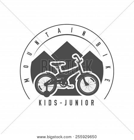 Mountain Bike, Junior And Kids Emblem, Badge. Monochrome Vector Illustration. Junior And Kids Bicycl