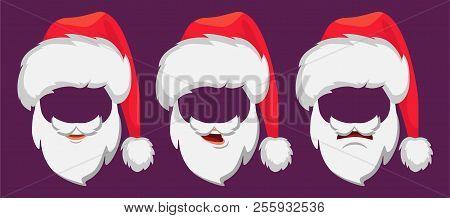 cbafa653eadd4 Santa Claus Hat And Beard. Santa Claus Vector Illustration