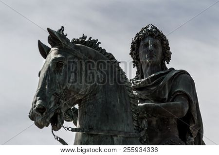 Louis Xiv King Satue In The City Centre Of Lyon, France