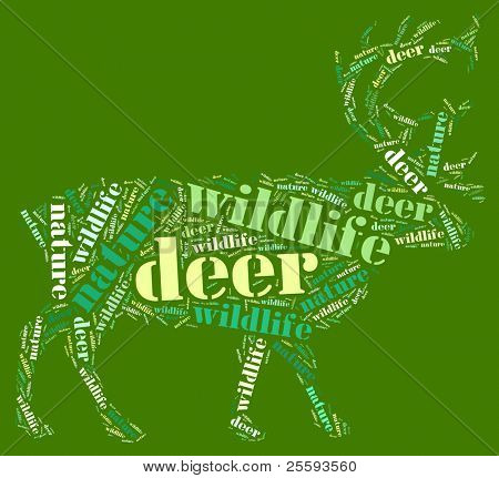 Textcloud: silhouette of deer