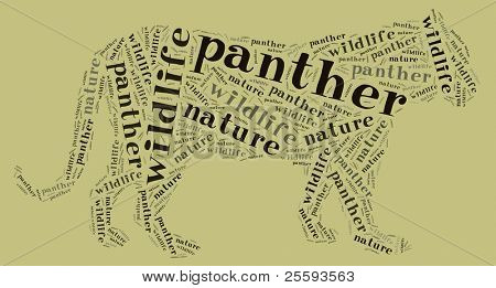 Textcloud: silhouette of panther