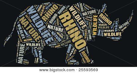 Textcloud: silhouette of rhino