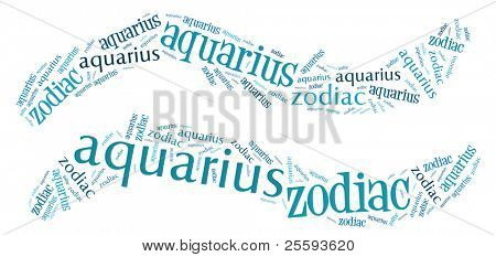 Textcloud: silhouette of aquarius