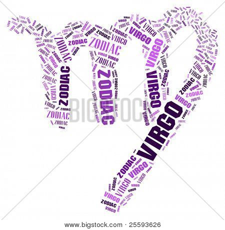 Textcloud: silhouette of virgo
