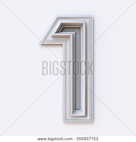 White Picture Frame Font Number 1 One 3d Rendering Illustration Isolated On White Background