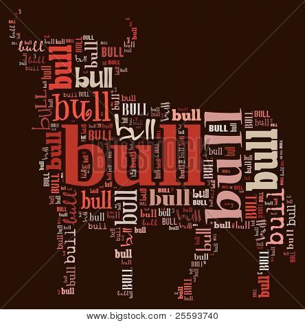 Textcloud: silhouette of bull