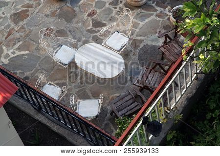 Bird View Of A Terrace. Leisure Terrace. View On A Terrace.