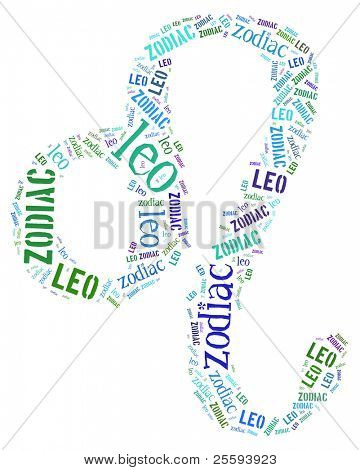 Textcloud: silhouette of leo