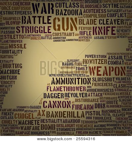 Tagcloud: gun silhouette of words