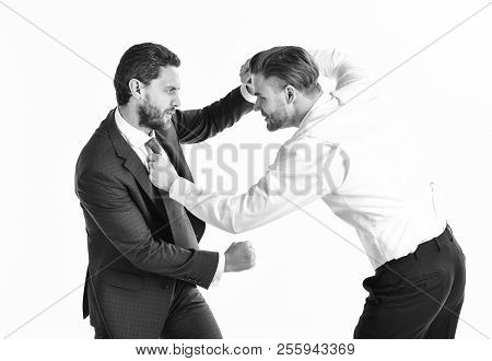 Business Conflict Concept. Young Men In Formal Wear Or Businessmen Fight , Isolated On White Backgro