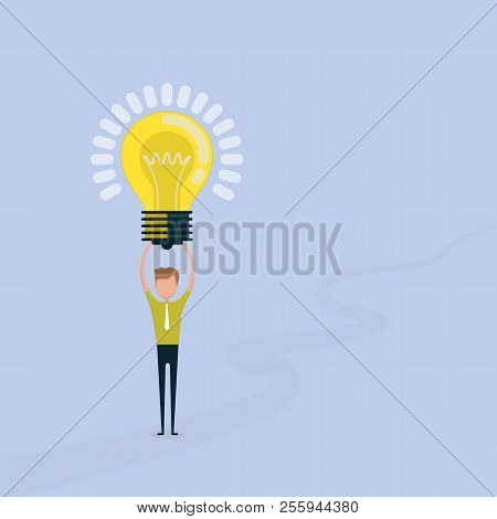 Young Man Icon With Light Bulb Symbol.happy Young Business Man And Lamp Icon.people And Successful B