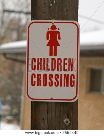Street Signs Pig Tail Children Crossing