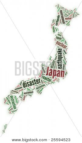 Tagcloud map of Japan after disaster
