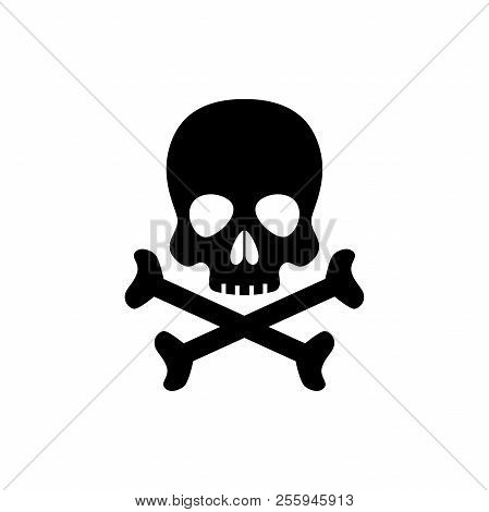 Human skull with crossbones black isolated icon. Skull with crossed bones poison symbol. poster