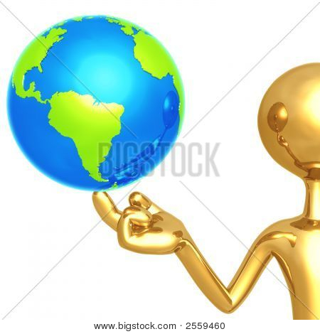 Gold Guy With World On His Finger