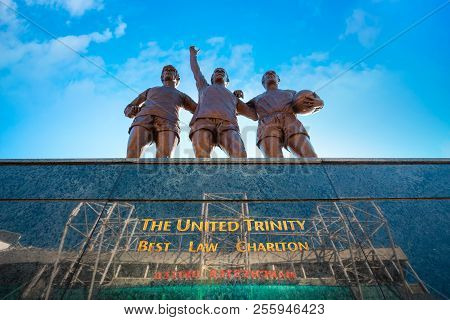 Manchester, Uk - May 19 2018: The United Trinity Bronze Sculpture Which Composed With George Best, D