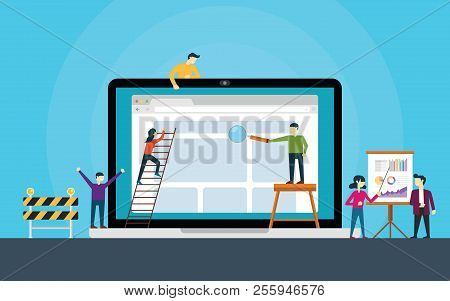 Website Development Team On Front Of Laptop Build A Website Vector Illustration