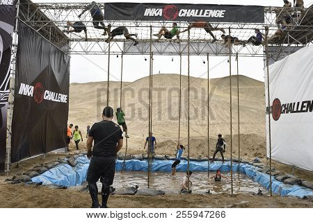 Lima, Peru - October 23, 2016: Inka Challenge, An Extreme Obstacle Course Where 1500 Athletes From D