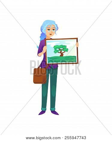 Informal Painter Woman Standing With Picture Of Nature On White Background.