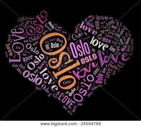 Wordcloud: love heart of city Oslo