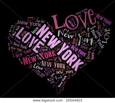 Wordcloud: love heart of city New York