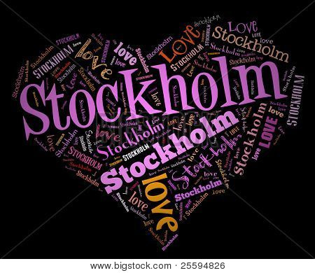Wordcloud: love heart of city Stockholm