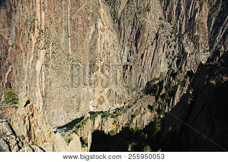 Black Shadow Copy Space In Black Canyon Of The Gunnison National Park And Recreation Area At Gunniso