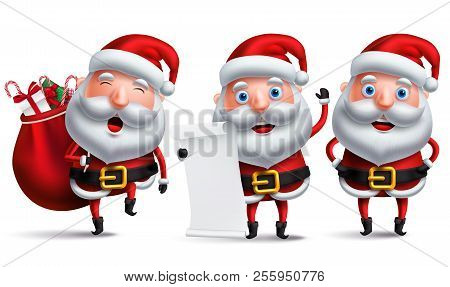 Santa Claus Vector Character Set Holding Christmas Wish List And Carrying Sack Of Gifts And Present