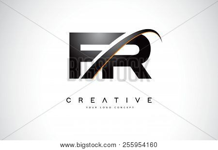 Fr F R Swoosh Letter Logo Design With Modern Yellow Swoosh Curved Lines Vector Illustration.