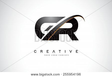 Gr G R Swoosh Letter Logo Design With Modern Yellow Swoosh Curved Lines Vector Illustration.