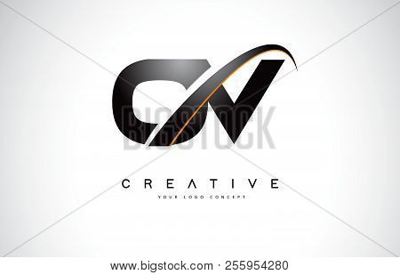 Ov O V Swoosh Letter Logo Design With Modern Yellow Swoosh Curved Lines Vector Illustration.
