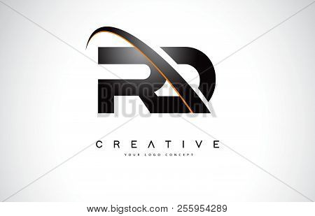 Rd R D Swoosh Letter Logo Design With Modern Yellow Swoosh Curved Lines Vector Illustration.