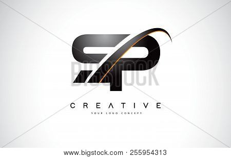 Sp S P Swoosh Letter Logo Design With Modern Yellow Swoosh Curved Lines Vector Illustration.