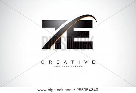 Te T E Swoosh Letter Logo Design With Modern Yellow Swoosh Curved Lines Vector Illustration.