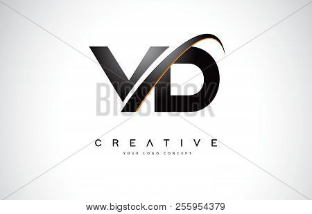 Vd V D Swoosh Letter Logo Design With Modern Yellow Swoosh Curved Lines Vector Illustration.