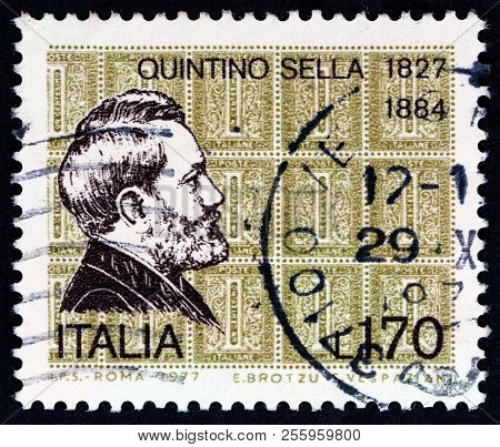 Italy - Circa 1977: A Stamp Printed In Italy From The Issued For The 150th Birth Anniversary Of Stat