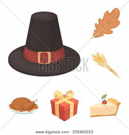Canada Thanksgiving Day Cartoon Icons In Set Collection For Design. Canada And Tradition Vector Symb