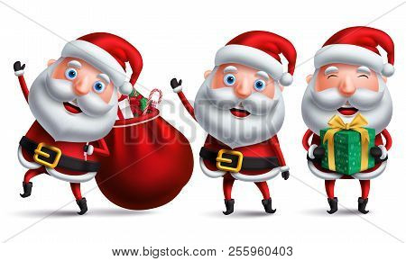 Santa Claus Christmas Vector Character Set Carrying Bag Of Christmas Gift And Presents And Giving Gi