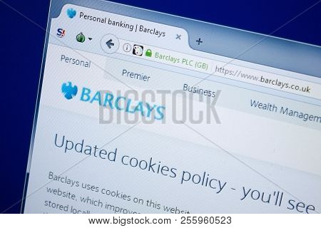 Ryazan, Russia - August 26, 2018: Homepage Of Bar Clays Website On The Display Of Pc, Url - Barclays