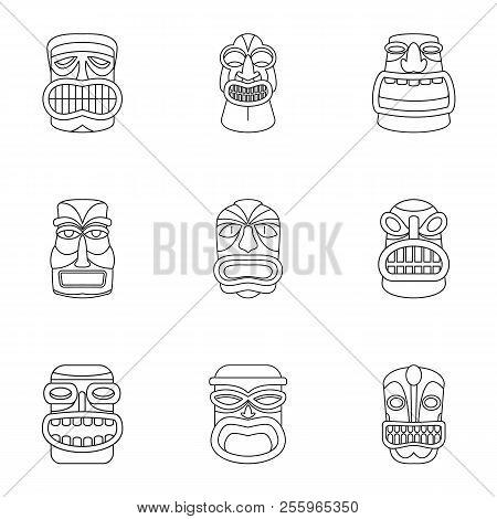 African Populace Icons Set. Outline Set Of 9 African Populace Icons For Web Isolated On White Backgr