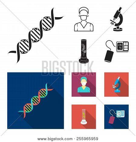 Plant In Vitro, Nurse, Microscope, Tonometer. Medicine Set Collection Icons In Black, Flat Style Vec