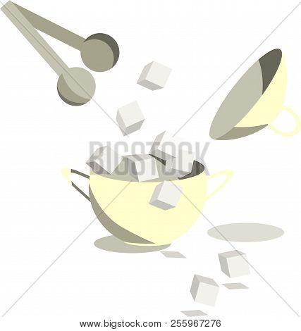 Sugar Lumps Crumbling From The Sugar Bowl, Tongs Catching Cubes. Flat Design. Vector Illustration