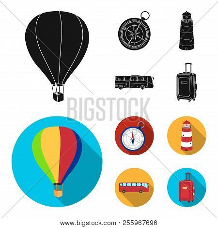 Vacation, Travel, Lighthouse, Compass .rest And Travel Set Collection Icons In Black, Flat Style Vec