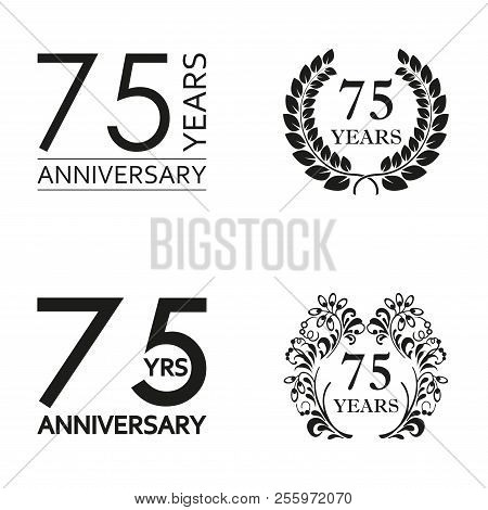 75 Years Anniversary Set. Anniversary Icon Emblem Or Label Collection. 75 Years Celebration And Cong