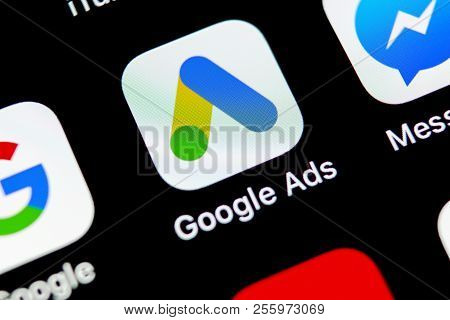 Sankt-petersburg, Russia, August 31, 2018: Google Ads Adwords Application Icon On Apple Iphone X Scr
